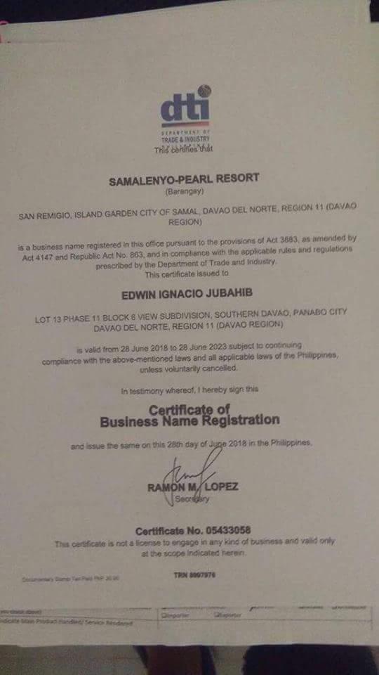 DTI registration of Samal resort