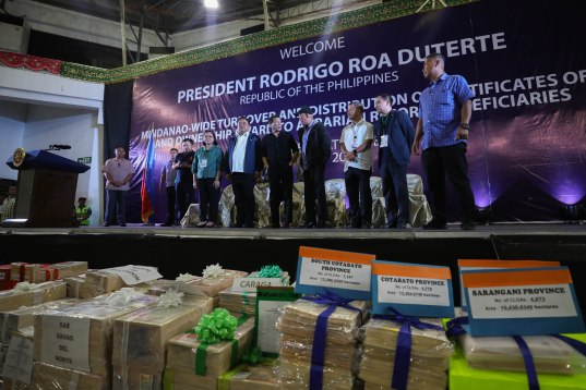 President Rodrigo Roa Duterte leads the Mindanao-wide turnover and distribution of Certificates of Land Ownership Award (CLOAs) to the Agrarian Reform Beneficiaries (ARBs) at the Davao City Recreation Center on August 2, 2019.